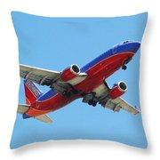 Airliner Landing At Sky Harbor Phoenix Arizona Throw Pillow