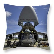 Airmen And Soldiers Load A Ch-47 Throw Pillow