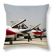Airmen Conduct Preflight Preparations Throw Pillow by Stocktrek Images