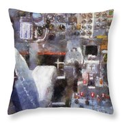 Airplane Cockpit Photo Art Throw Pillow