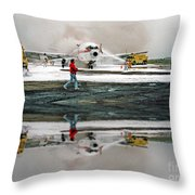 Airplane Crash Drill Landscape Altered Version Throw Pillow