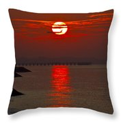 Airplane Flying At Sunrise Throw Pillow