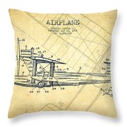 Airplane Patent Drawing From 1921-vintage Throw Pillow