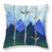 Airy Three Of Wands Throw Pillow
