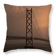 Akashi Kaikyo Bridge Osaka Bay Throw Pillow