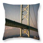 Akashi Kaikyo Bridge Sunset Throw Pillow