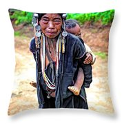 Akha Tribe Paint Filter Throw Pillow