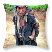 Akha Tribe Throw Pillow