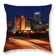 D1u-140 Akron Ohio Night Skyline Photo Throw Pillow