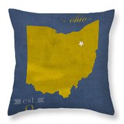 Akron Zips Ohio College Town State Map Poster Series No 007 Throw Pillow