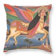 Al Buraq Dul Dul Horse Prophet Muhammad Painting Handmade Islamic Paper Painting Folk Art Throw Pillow