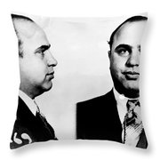 Al Capone Mug Shot Throw Pillow by Edward Fielding