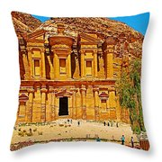 Al-dayr Or The Monastery In Petra-jordan  Throw Pillow