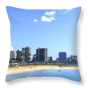 Ala Moana Beach Park And Diamond Head Throw Pillow