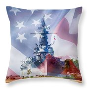 Battleship Alabama And Flag Throw Pillow