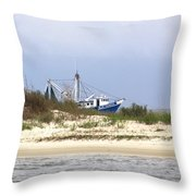 Alabama - Gulf Of Mexico Shrimper - Beautiful Day For Fishing Throw Pillow
