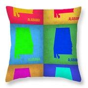 Alabama Pop Art Map 1 Throw Pillow