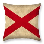 Alabama State Flag Art On Worn Canvas Throw Pillow by Design Turnpike