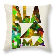 Alabama Typographic Watercolor Map Throw Pillow
