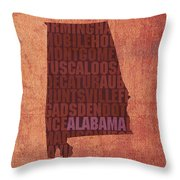 Alabama Word Art State Map On Canvas Throw Pillow