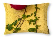 Alarm Bell And Vines Yellow Wall Throw Pillow