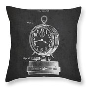 Alarm Clock Patent From 1911 - Dark Throw Pillow