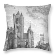 Alarming Morning In Ghent. The Left Part Of The Triptych - The Age Of Cathedrals Throw Pillow
