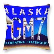 Alaska License Plate Throw Pillow