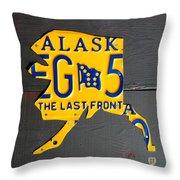 Alaska License Plate Map Artwork Throw Pillow