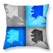 Alaska Map Art Throw Pillow
