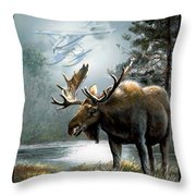Alaska Moose With Floatplane Throw Pillow by Regina Femrite