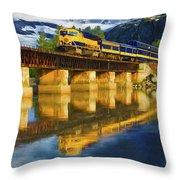 Alaska Railroad Reflections Throw Pillow