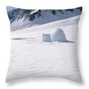 Alaska Range And Glacier With Igloo Throw Pillow