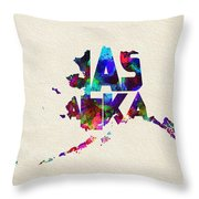 Alaska Typographic Watercolor Map Throw Pillow