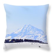 Alaska Winter Wonderland Mount Redoubt Throw Pillow