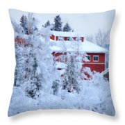 Alaskaland Train Station I Throw Pillow
