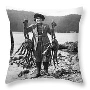 Alaskan Crabs Throw Pillow