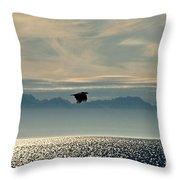Alaskan Eagle At Sunset Throw Pillow