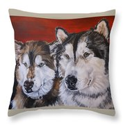 Alaskan Malamutes Throw Pillow