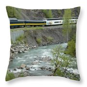 Alaskan Railroad Throw Pillow