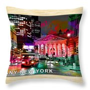 Albany New York Skyline Painting Throw Pillow