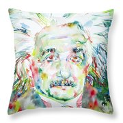 Albert Einstein Watercolor Portrait.1 Throw Pillow