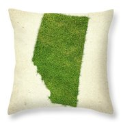 Alberta Grass Map Throw Pillow by Aged Pixel