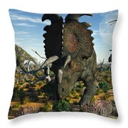 Albertaceratops Dinosaurs Grazing Throw Pillow