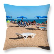 Albufeira Beach Throw Pillow