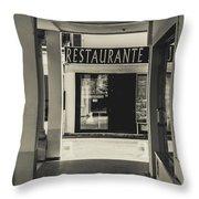 Albufeira Street Series - Restaurante Throw Pillow
