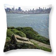 Alcatraz And San Francisco Throw Pillow