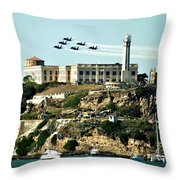 Alcatraz Blues Throw Pillow by Benjamin Yeager