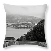 Alcatraz Island From Hyde Street In San Francisco Throw Pillow