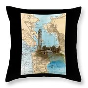 Alcatraz Island Lighthouse Ca Nautical Chart Map Art Throw Pillow